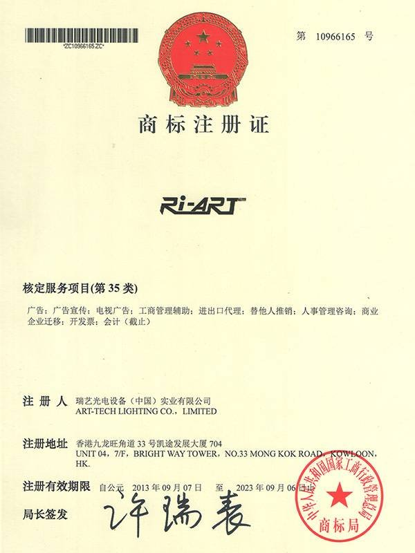 Trademark registration certificate 1
